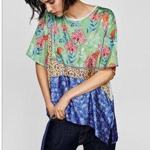 NWT Zara Printed Satin Top